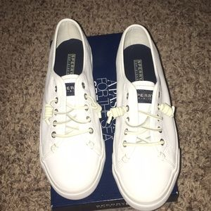 All white Sperry Topsider